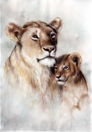 motherly love: A beautiful airbrush painting of a loving lion mother and her baby cub