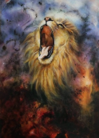 strenght: A beautiful airbrush painting of a roaring lion on a abstract cosmical background