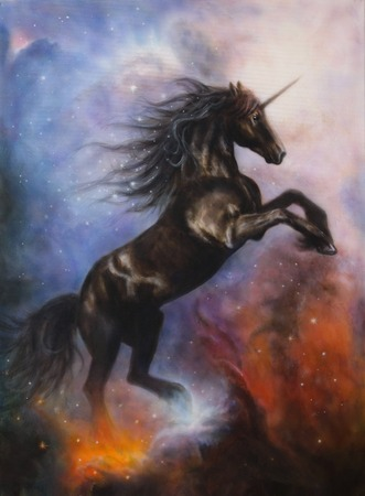A beautiful painting of a black unicorn dancing in space Reklamní fotografie
