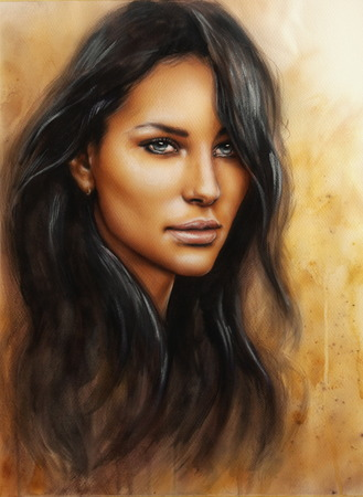 A beautiful airbrush portrait of a young enchanting woman face with long dark hair photo
