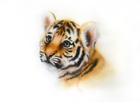 beautiful airbrush painting of an adorable baby tiger head looking up, on abstract blurry background photo