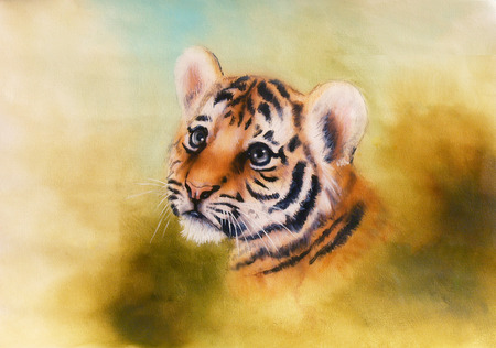 airbrush: A beautiful airbrush painting of an adorable baby tiger head looking out from a green surroundings
