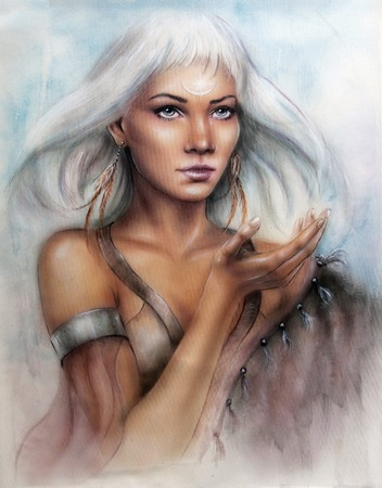 A beautiful airbrush portrait of a young enchanting woman warrior with feathers white shiny hair and a palm stretched Stock Photo