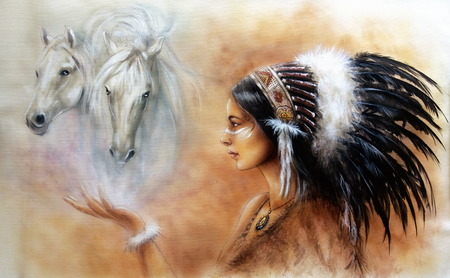 horses in the wild: A beautiful airbrush painting of a young indian woman wearing a gorgeous feather headdress, with an image of two white horse spirits hovering above her palm Stock Photo