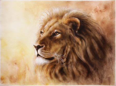 profil: Piękna aerografia z głową lwa z majesticaly pokojowego wyrażania Zdjęcie Seryjne