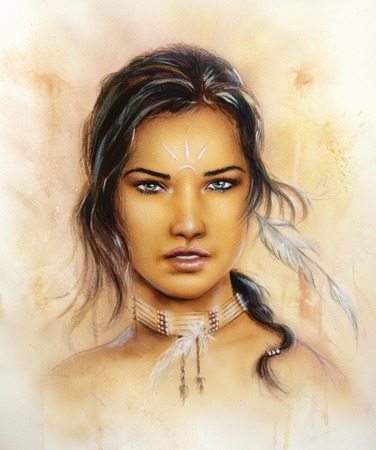 A beautiful airbrush portrait of a young enchanting woman face with feathers and long dark hair, looking directly up