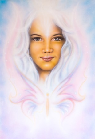 A beautiful airbrush painting of a young girl?s angelic face with radiant white hair and a butterfly