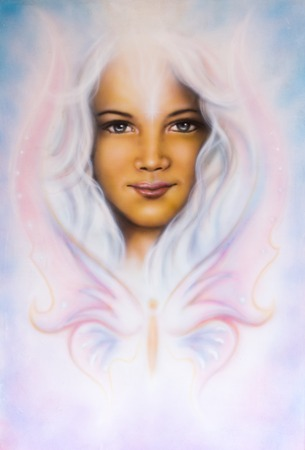 A beautiful airbrush painting of a young girl?s angelic face with radiant white hair and a butterfly photo