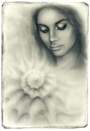 dram: A beautiful airbrush portrait of a young woman with closed eyes meditating upon a spiraling seashell Stock Photo