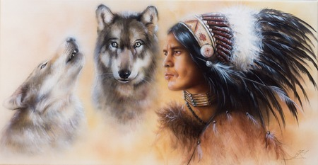 black american: A beautiful airbrush painting of an young indian warrior accompanied with two wolves