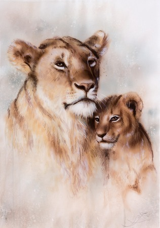 duo: A beautiful airbrush painting of a loving lion mother and her baby cub