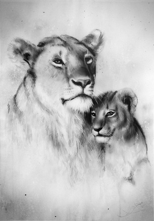 A beautiful airbrush painting of a loving lion mother and her baby cub