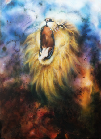 airbrush: airbrush painting of a mighty roaring lion emerging from an abstract cosmical background