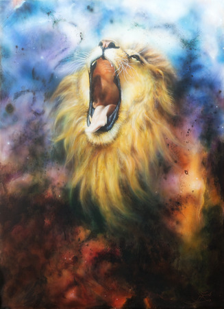 airbrush painting of a mighty roaring lion emerging from an abstract cosmical background