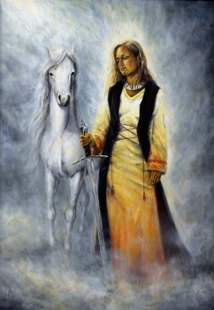 guarding: A beautiful oil painting of a mystical woman in historical dress holding a sword of silver, with a white horse as her protective companion at her side