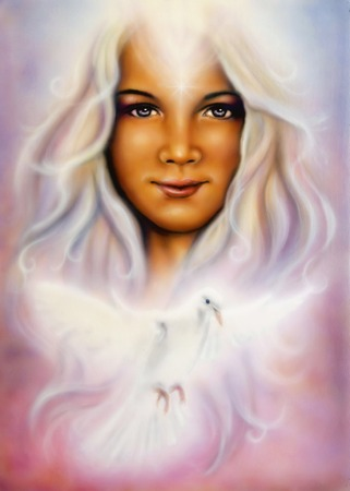 A beautiful airbrush painting of a young girl?s angelic face with radiant white hair and a shining dove