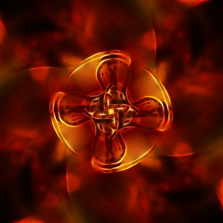 colorful flower mandala on a background fractal colour effect on red fire background photo