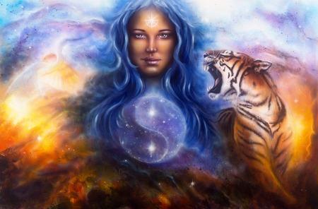 Eine schöne Malerei Öl auf Leinwand von einem weiblichen Göttin lada Bewachung eines heiligen Balance mit einem fliegenden Reiher und ein brüllender Tiger Standard-Bild