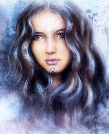 enchanting: beautiful airbrush painting of an enchanting woman face with structure colour background Stock Photo