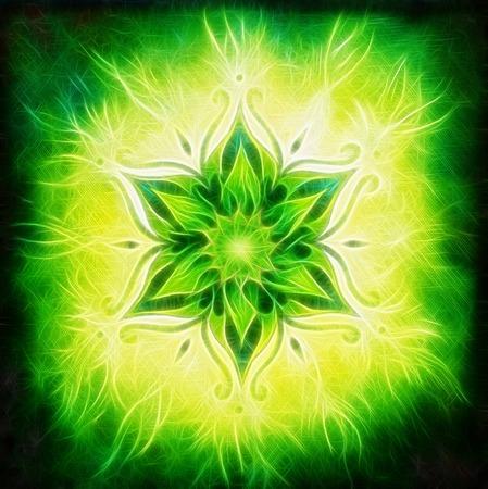 Flower Mandala on a green background fractal color effect Banque d'images