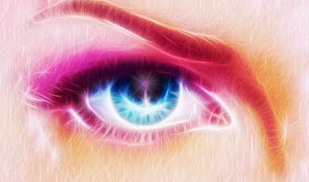 A pair of beautiful blue women eyes beaming  up enchanting from behind a bloming rosa lotus flower photo