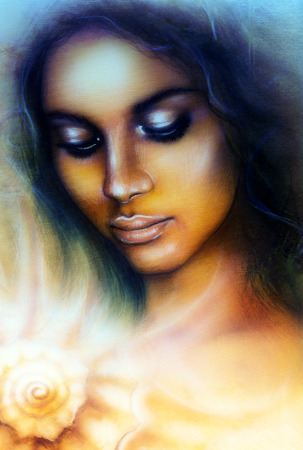 dram: A beautiful airbrush portrait of a young indian woman with closed eyes meditating upon a spiraling sea seashell