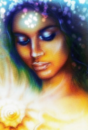 dram: A beautiful airbrush portrait of a young indian woman with closed eyes meditating upon a spiraling seashell with color bokeh  and fractal effect