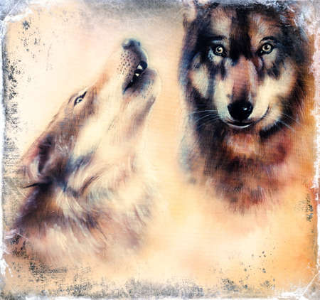 gray wolf: Howling Wolfs airbrush painting on canvas color background Stock Photo