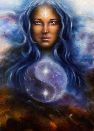 hermosa pintura sobre lienzo de una diosa mujer Lada como guardián poderoso amorosa, con el símbolo de jin jang