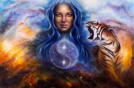A beautiful painting oil on canvas of a female goddess lada guarding a sacred balance with a flying heron and a roaring tiger