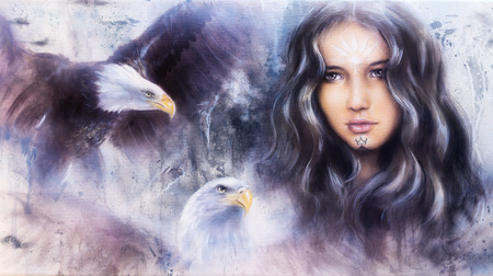 beautiful airbrush painting of an enchanting woman face with two flying eagles