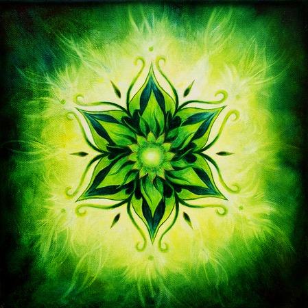 Flower Mandala on a green background color 写真素材