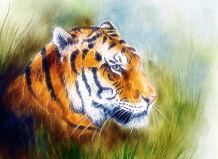 airbrush: beautiful airbrush painting of a mighty fierce tiger head on a soft toned abstract gres background