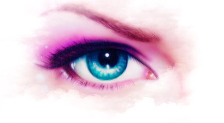 eyes close up: women eye airbrush  painting, make up in mist effect Stock Photo