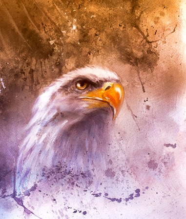 marvelous: beautiful airbrush painting of  eagle on an abstract background, one stretching his black wings to fly, on abstract background
