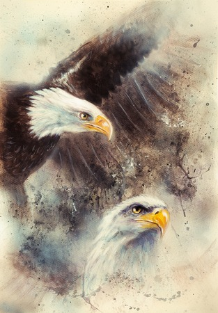 beautiful airbrush painting of two eagles on an abstract background, one stretching his black wings to fly, on abstract background Stock Photo