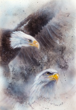 american silver eagle: beautiful airbrush painting of two eagles on an abstract background, one stretching his black wings to fly, on abstract background Stock Photo
