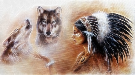 eautiful airbrush painting of a young indian woman wearing a gorgeous feather headdress, with an image of two white wolves spirits hovering above her palm fractal effect Stockfoto