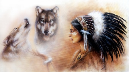 A beautiful airbrush painting of a young indian woman wearing a gorgeous feather headdress, with an image of two wolf spirits hovering above her palm