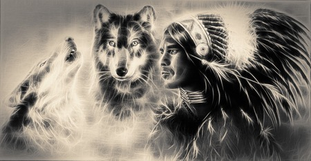 A beautiful airbrush painting of an young indian warrior accompanied with two wolves