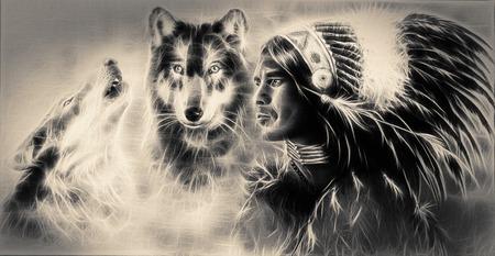 2 つの狼を伴う若いインディアンの戦士の美しいエアブラシの絵画