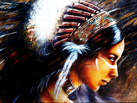 structured: beautiful airbrush painting of a young indian woman wearing a big feather headdress, a profile portrait on structured abstract background Stock Photo