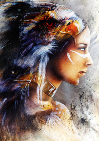 headdresses: indian woman, on an abstract color background.