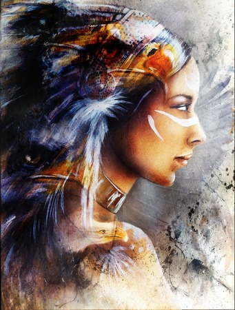 beautiful painting of native american indian woman with eagle, on an abstract textured background. Banque d'images