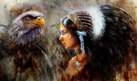 halcones: hermosa pintura m�stica de una joven India lleva un gran tocado de plumas, un retrato de perfil en fondo resumen estructurado