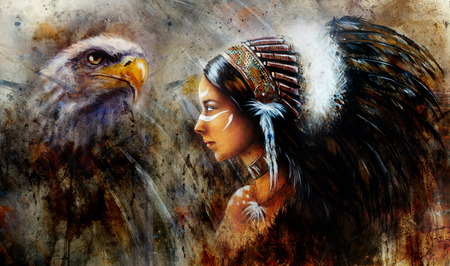 beautiful mystic painting of a young indian woman wearing a big feather headdress, a profile portrait on structured abstract background Standard-Bild