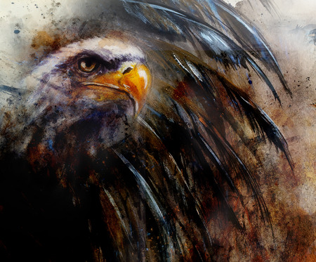 bald woman: painting  eagle with black feathers on an abstract background , USA Symbols Freedom profile portrait Stock Photo