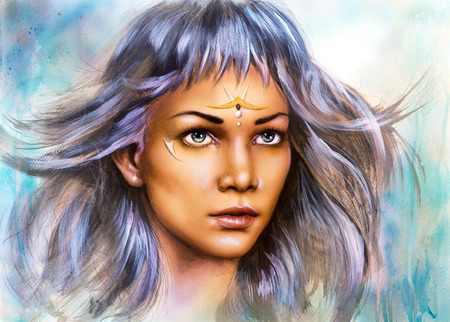 enchanting: beautiful airbrush painting portrait of a young enchanting woman warrior with white silver hair make up ornament artist illustration abstract color background