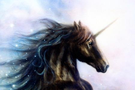 unicorn: Horse,  black unicorn in space, illustration abstract color background, profile portrai