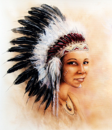 beautiful illustration painting of a young indian woman wearing a gorgeous feather headdress